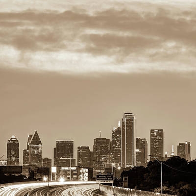 Photograph - Dallas Skyline Morning Sepia - Square 1x1 Format by Gregory Ballos