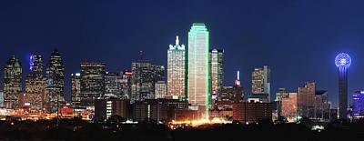 Dallas Skyline Photograph - Dallas Skyline Night 021417 by Rospotte Photography