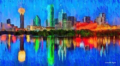 Dallas Skyline Painting - Dallas Skyline - Pa by Leonardo Digenio