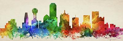 Dallas Skyline Digital Art - Dallas Skyline Panorama Ustxda-pa03 by Aged Pixel