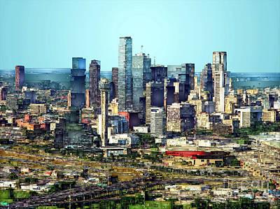 Digital Art - Dallas Skyline by Rafael Salazar