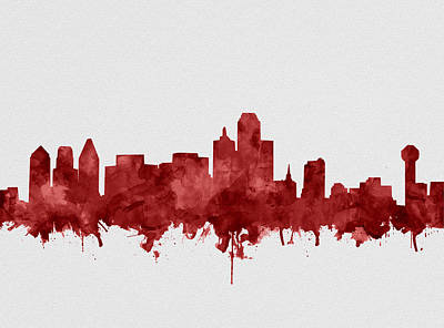 Abstract Digital Painting - Dallas Skyline Red by Bekim Art