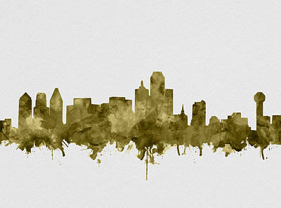 Abstract Digital Painting - Dallas Skyline Sepia by Bekim Art