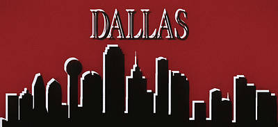 Mixed Media - Dallas Skyline Silhouette Pop by Dan Sproul