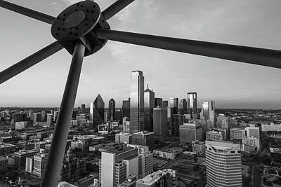 Photograph - Dallas Skyline Skyline - Black And White by Gregory Ballos