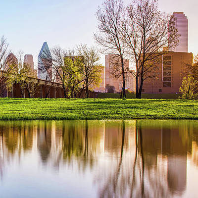 Photograph - Dallas Skyline Square Format Trinity Reflections by Gregory Ballos