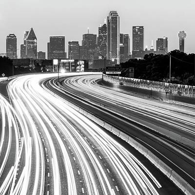 Photograph - Dallas Skyline Traffic Black And White - Square 1x1 Format by Gregory Ballos