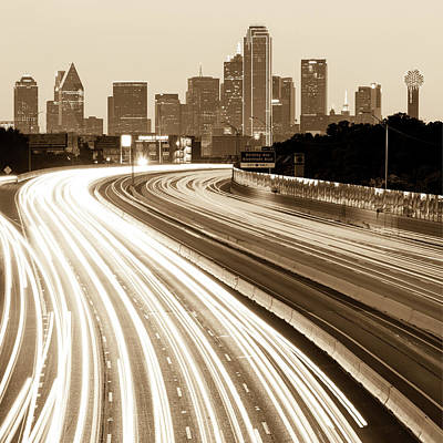 Photograph - Dallas Skyline Traffic Sepia - Square 1x1 Format by Gregory Ballos