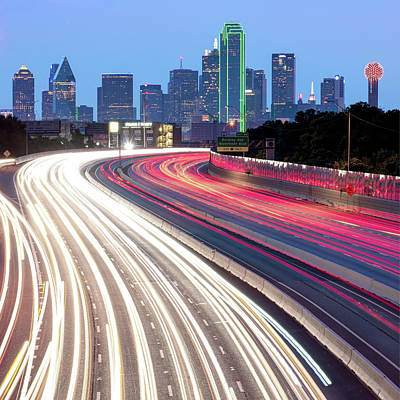 Photograph - Dallas Skyline Traffic - Square 1x1 Format by Gregory Ballos