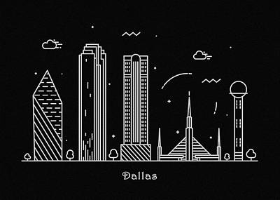Abstract Landscape Drawing - Dallas Skyline Travel Poster by Inspirowl Design