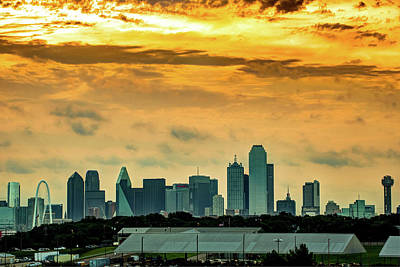 Photograph - Dallas Skyline Under Fire by Gregory Ballos