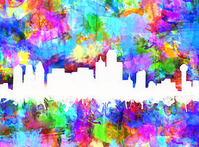 Abstract Digital Painting - Dallas Skyline Vibrant Colors by Bekim Art
