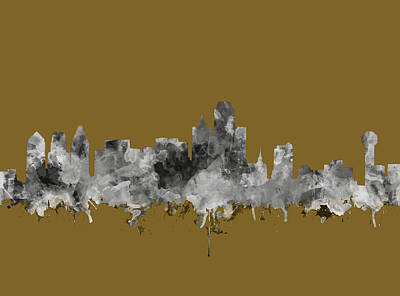 Abstract Digital Painting - Dallas Skyline Watercolor 2 by Bekim Art