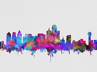 Abstract Digital Painting - Dallas Skyline Watercolor 4 by Bekim Art