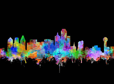 Abstract Digital Painting - Dallas Skyline Watercolor 5 by Bekim Art