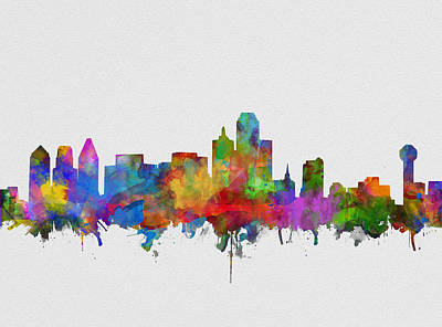 Abstract Digital Painting - Dallas Skyline Watercolor 6 by Bekim Art