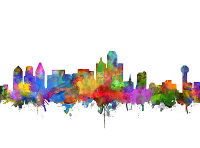 Abstract Digital Painting - Dallas Skyline Watercolor 7 by Bekim Art