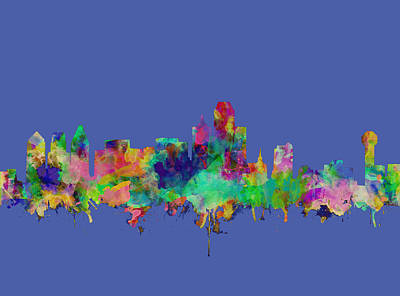 Abstract Digital Painting - Dallas Skyline Watercolor by Bekim Art