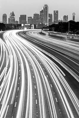 Photograph - Dallas Skyline With Light Trails - Black And White by Gregory Ballos