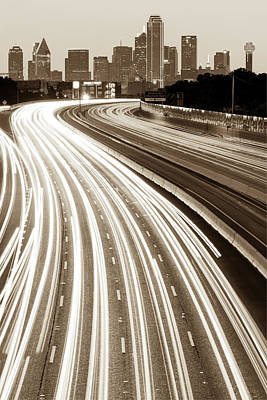 Photograph - Dallas Skyline With Light Trails - Sepia by Gregory Ballos