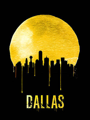 Dallas Digital Art - Dallas Skyline Yellow by Naxart Studio