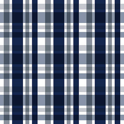 Dallas Sports Fan Navy Blue Silver Plaid Striped Art Print