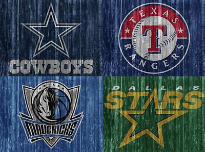 Mixed Media - Dallas Sports Teams Barn Door by Dan Sproul