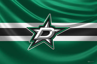 Digital Art - Dallas Stars - 3 D Badge Over Silk Flag by Serge Averbukh