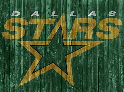 Mixed Media - Dallas Stars Barn Door by Dan Sproul