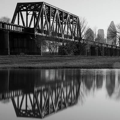 Photograph - Dallas Texas Architecture And Skyline Reflections - Black And White by Gregory Ballos