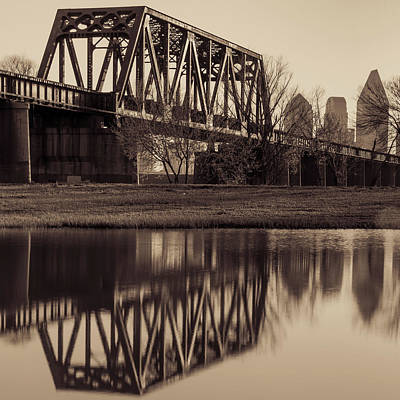 Photograph - Dallas Texas Architecture And Skyline Reflections - Sepia by Gregory Ballos