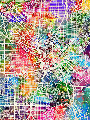 Dallas Texas City Map Art Print