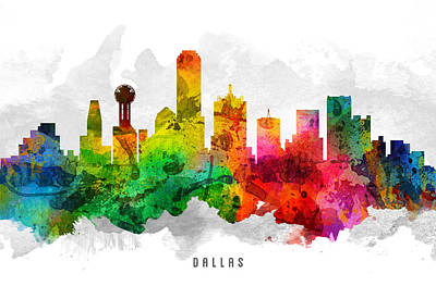 Dallas Skyline Wall Art - Painting - Dallas Texas Cityscape 12 by Aged Pixel