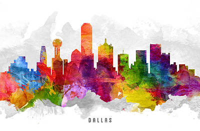 Dallas Skyline Wall Art - Painting - Dallas Texas Cityscape 13 by Aged Pixel