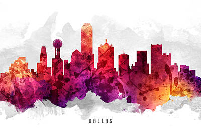 Dallas Skyline Wall Art - Painting - Dallas Texas Cityscape 14 by Aged Pixel