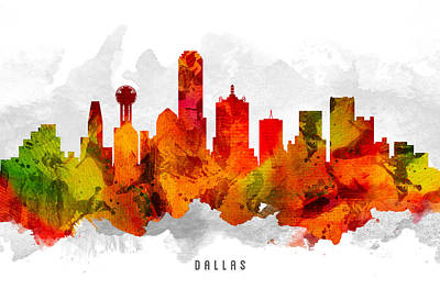 Dallas Skyline Wall Art - Painting - Dallas Texas Cityscape 15 by Aged Pixel