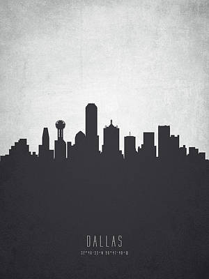 Skylines Paintings - Dallas Texas Cityscape 19 by Aged Pixel