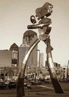Photograph - Dallas Texas Deep Ellum Traveling Man - Walking Tall - Sepia by Gregory Ballos