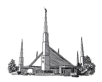 Dallas Drawing - Dallas Texas Lds Temple Ink Drawing by DSC Arts