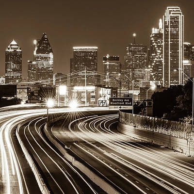 Photograph - Dallas Texas Night Time Sepia Skyline - Square by Gregory Ballos