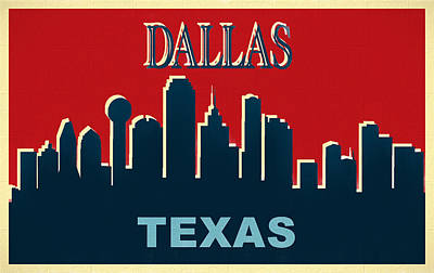 Mixed Media - Dallas Texas Pop Art Skyline Poster by Dan Sproul