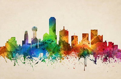 Dallas Skyline Wall Art - Painting - Dallas Texas Skyline 05 by Aged Pixel