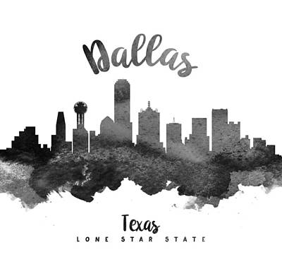 Dallas Skyline Wall Art - Painting - Dallas Texas Skyline 18 by Aged Pixel