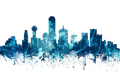 Skylines Paintings - Dallas Texas Skyline 19 by Aged Pixel