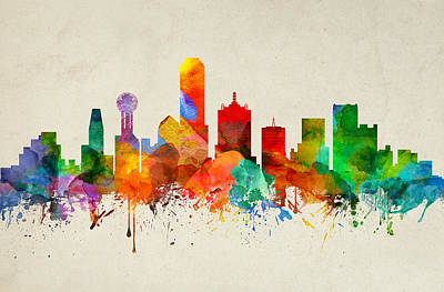 Dallas Skyline Digital Art - Dallas Texas Skyline 22 by Aged Pixel