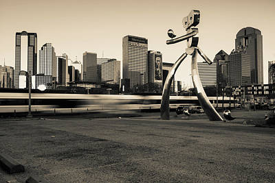 Photograph - Dallas Texas Skyline And Traveling Man - Sepia by Gregory Ballos