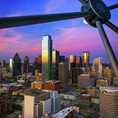 Photograph - Dallas Texas Skyline Architecture At Dusk - 1x1 by Gregory Ballos