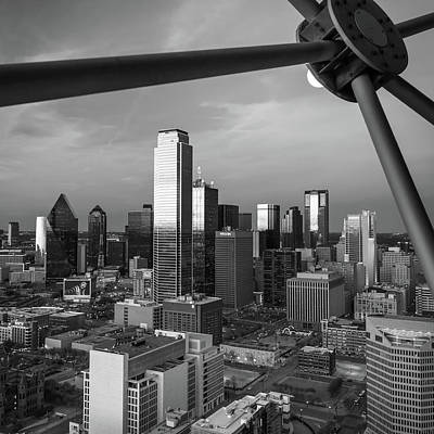Photograph - Dallas Texas Skyline Architecture At Dusk In Black And White- 1x1 by Gregory Ballos