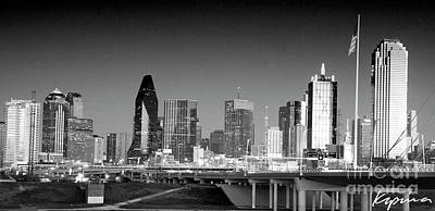 Photograph - Dallas Texas Skyline At Dusk, Black And White by Greg Kopriva