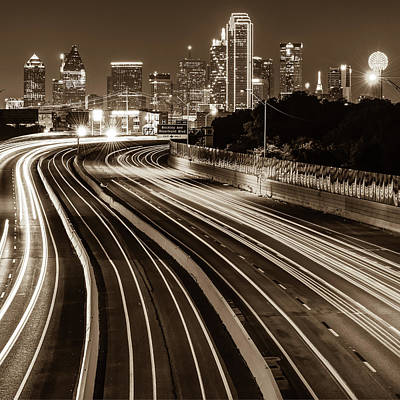 Photograph - Dallas Texas Skyline At Night - Sepia - Square Art by Gregory Ballos